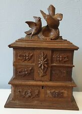 Beautiful Black Forest Carved Bird Jewelry Box