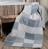 SAWYER MILL BLUE Block Quilted Throw Patchwork Farmhouse Rustic Check Stripe VHC