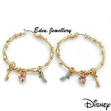 RARE Disney Couture CINDERELLA Slipper Key Heart Crystal Earrings Gold Plated