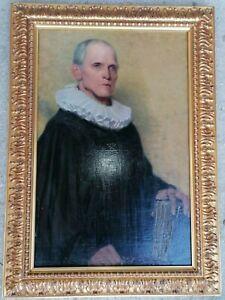 Gemälde Gelehrter Advokat mit Buch spanischer Kragen um 1800