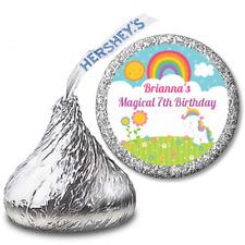 Rainbow Unicorn - Personalized Hershey Kiss Birthday Party Sticker Label