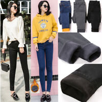 Women Winter Slim Fleece Nap Jeans cotton Thick Thermal Pant High Waist Trousers