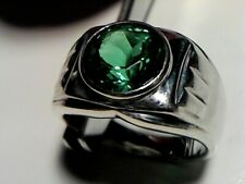 4.50 cts SIMULATED EMERALD RING IN STERLING SILVER WITH RHODIUM NICKEL FINISH