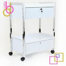 2 DRAWER WOODEN  BEAUTY TROLLEY CART WITH WHEELS SALON SPA FURNITURE NEW
