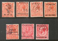 1912-1924 George V  Commercial Overprints on 2d & 1d Stamps  7 items In Total