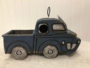 Distressed vintage Wooden wood Blue Pickup Truck auto Birdhouse Bird Feeder NEW