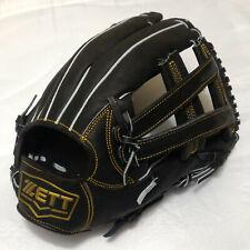"ZETT Pro Model 3927 Black 12.5"" Leather RigtHandedThrower Fielder Baseball Glove"