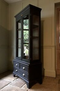 Vintage Reproduction Black Painted Display China Bookcase Glazed Drinks Cabinet