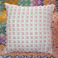 Throw Pillow From Vintage Morgan Jones Pink Rosebuds Cotton Chenille Bedspread