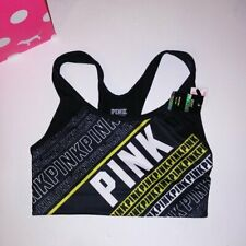 Victoria Secret PINK Sports Bra XS Ultimate Black White Yellow Logo Medium