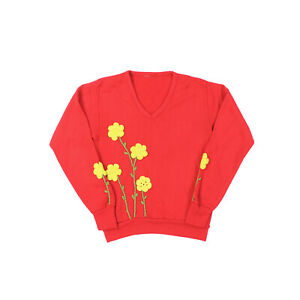 "VTG 60s 70s Women Medium 36"" Hand Embroidered V Neck Sweatshirt Sweater Mod"
