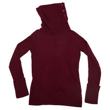 Tommy Hilfiger Womens Deep Burgundy Cowl Neck Button Knit Lambswool Jumper