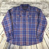 Womens Woolrich 100% Cotton Long Sleeve Pearl Snap Button Plaid Shirt L Roy 2450