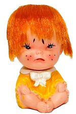 Vintage 60's Moody Cuties Pouting Rubber Baby Doll Red Hair Yellow Dress Japan