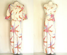 40s 50s Rayon 2pc Floral Print Nightgown w Matching Quilted Bed Jacket S to M