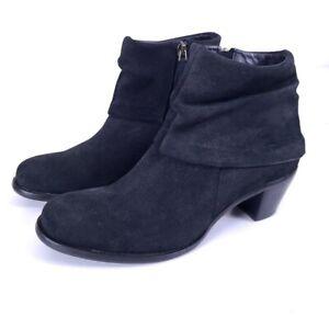 Cordani Women's Black Nubuck Leather Side Zip Ankle Booties Size 38