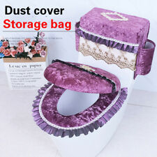 Velvet Toilet Seat Covers Set Lace Closestool Cover Lid Pads Soft Bathroom