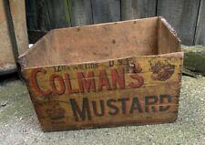 More details for vintage pre war colemans mustard wooden box delivery crate shop counter display