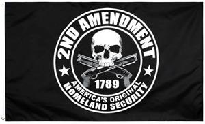 3x5FT Flag 2nd Amendment America's Original Homeland Security Skull Gun NRA