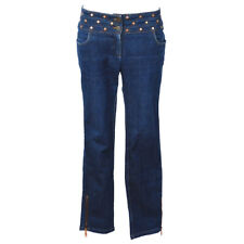 CELINE Studded Straight Long Denim Pants Blue Authentic AK37301