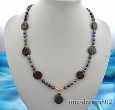 """24"""" 18mm coin 8mm baroque black FW pearl necklace"""
