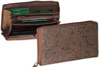 Woodland® Leder Geldbörse in Dunkelbraun mit Blumenmuster & YKK Reißverschluss