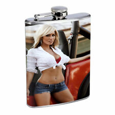 Colorado Pin Up Girls D10 Flask 8oz Stainless Steel Hip Drinking Whiskey