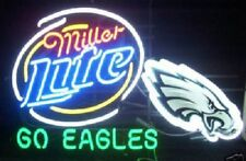 "New Miller Lite Philadelphia Eagles Beer Neon Light Sign 24""x20"""