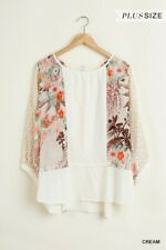 Umgee Oversized Bohemian Floral Print 3/4 Puff Sleeve Top Plus Size XL 1X