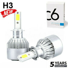 Pair H3 200W 20000LM COB LED Headlight Conversion Kit Bulbs 6000K White Lamp NEW