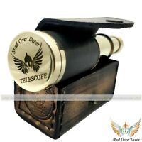 NAUTICAL HANDMADE BRASS BLACK LEATHER SCOPE PIRATE TELESCOPE WITH LEATHER COVER