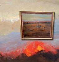 Feldbrand in der Abenddämmerung. Stimmungsvolles Ölgemälde Landschaft, signiert