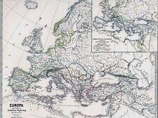 🏦⚔️🛡️🏛️ 147 Jahre alte Landkarte EUROPA 526 n. Chr. ROM Kaiser Justinian 1872