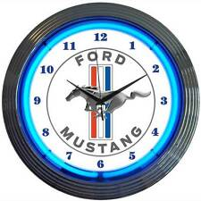 Blue Ford Mustang Since 1964 neon clock sign GT Man Cave 50th Anniversary OLP