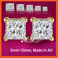 9K GOLD GF CT SIGNITY DIAMOND MENS LADY KID SOLID SQUARE STUD EARRINGS XMAS GIFT