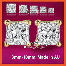 9K GOLD GF CT SIGNITY DIAMOND MENS LADY KID SOLID SQUARE STUD EARRINGS XMAS GIFT