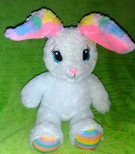 "Build A Bear Workshop 16"" Sweet Stripes Bunny Rabbit White PLUSH STUFFED ANIMAL"