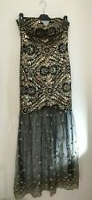 Ladies ANGEL FASHIONS Black & Gold 20's Style Evening Dress Womens Gown Size Med