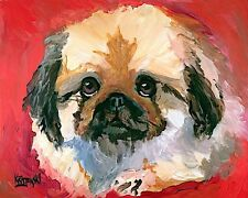 Pekingese Dog 11x14 signed art Print Rjk painting
