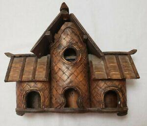 """Vintage Rustic Bird Treehouse Birdhouse Fairy House 12"""" x 10"""""""