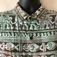 Rum Reggae Tiki Camp Shirt Button Front Rayon Short Sleeve Men's Extra Large XL
