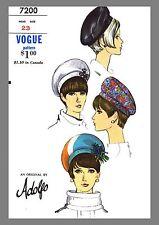 Vintage Vogue Designer Adolfo Millinery Hat Beret Fabric sewing pattern # 7200