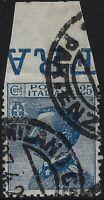 """Regno - 1908 - cent.25 azzurro """"varietà non dentellato in alto"""" - usato - n.83fa"""