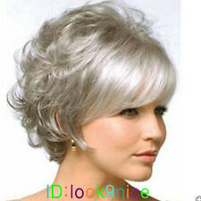 Ladies Short curly Silver Grey mix Synthetic Hair Wigs+wig cap
