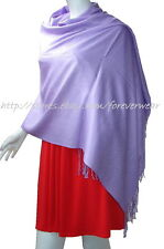 NEW Women Solid 100%Pashmina Wrap Stole Cashmere Shawl/Scarf Soft Lavender