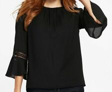 WALLIS black top Size 12 crochet trim sleeve fluted cuff £33 Brand New