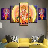God Ganesha Painting Great Ganapati Poster Wall Art Home Decor 5pcs Canvas Print