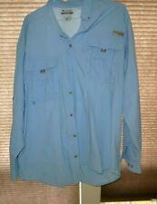 Men's COLUMBIA Performance Fishing Gear Long Sleeve Shirt in Blue Size XXL