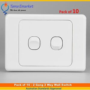 10 pieces - 2 Gang 2 Way Wall Switch – White Double Light Switch Electrical SAA