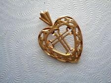 VINTAGE 14K GOLD DIAMOND CUT HEART CROSS PENDANT BY MICHAEL ANTHONY NOT SCRAP